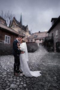 Bröllopsfotografering av vinterbröllop med snö