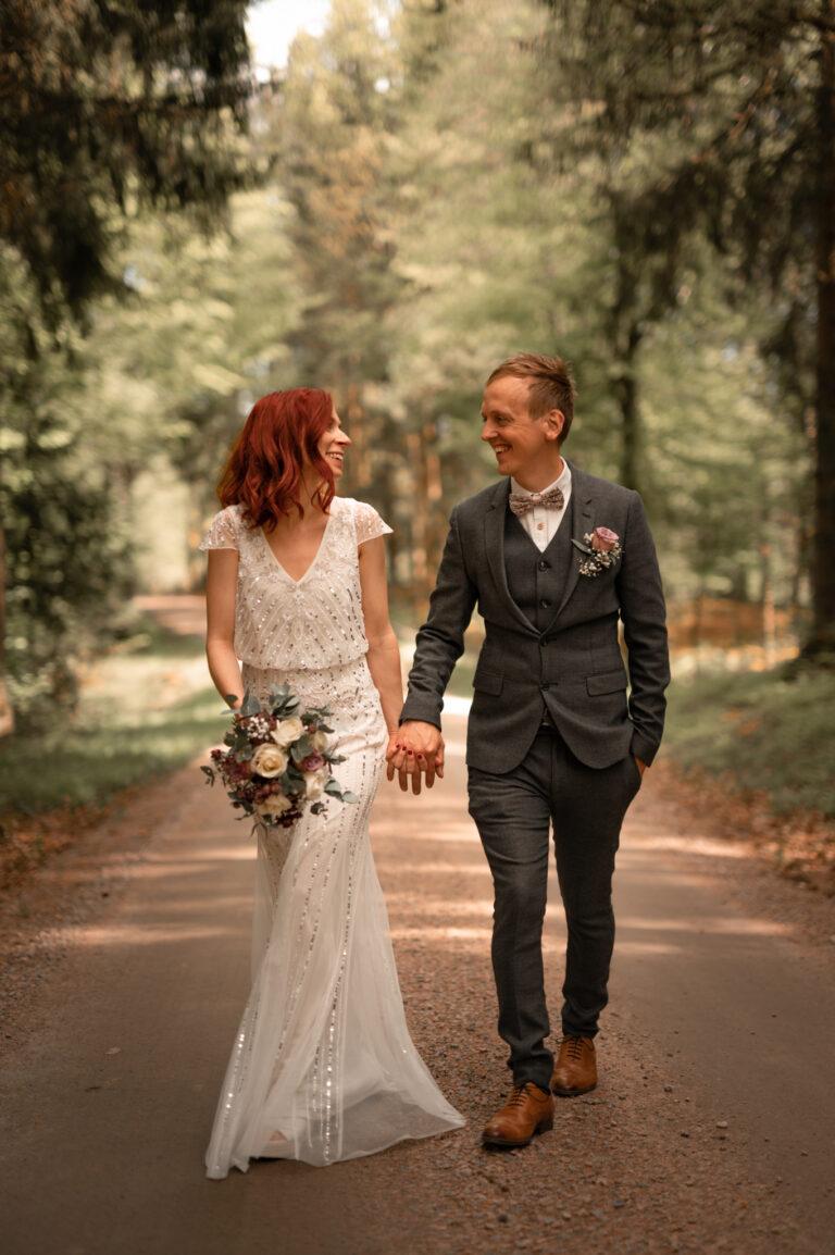 bröllopsfotografering skog