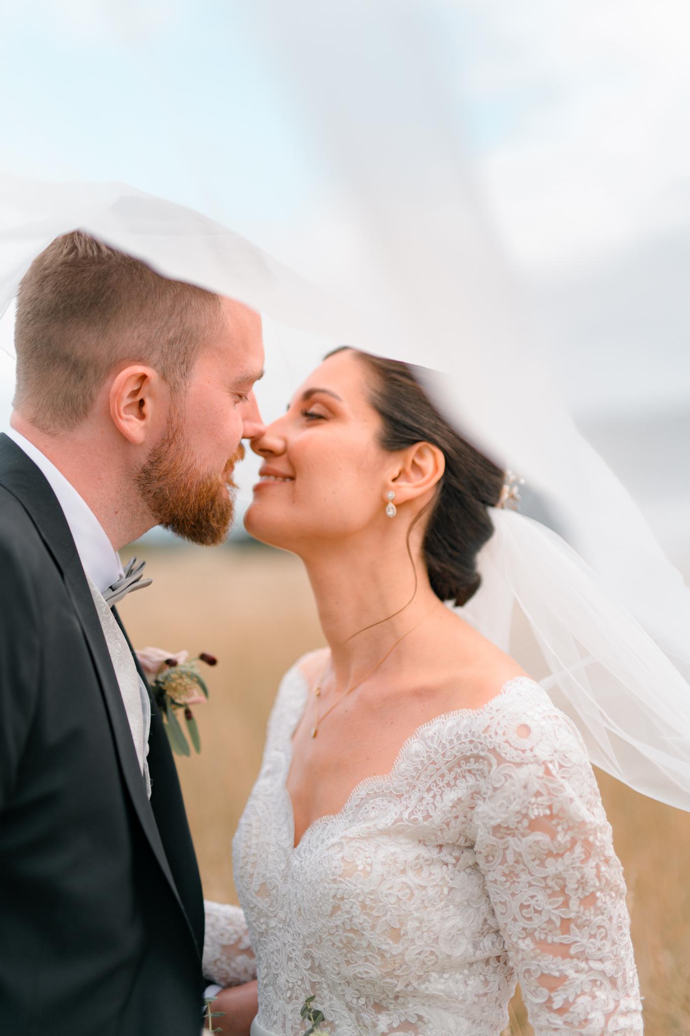 bröllopsfotografering slöja